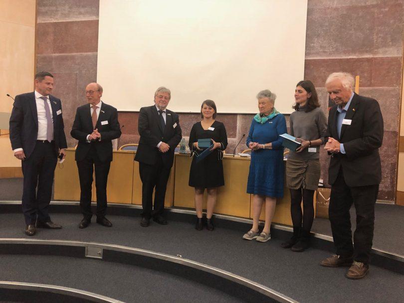 Julijana Gjorgjieva (middle) at the awarding ceremony (photo by Simone Bell, EMBL)